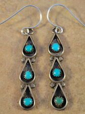 Vintage Zuni Sterling Silver & Turquoise Earrings