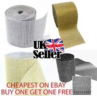 Sparkly Diamante Effect Ribbon In Gold Colour Trim Sewing Wedding Crafts UK