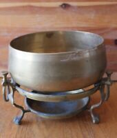 Solid Brass Chafing Dish Fondu warmer planter stand vintage fleur de lis footed