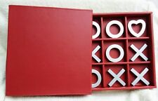 "Tic Tac Toe Set Game Gift Large 3D Silver X O Heart Red Case 8"" X 8"" New"