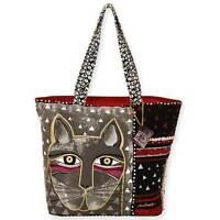Whiskered Cat Laurel Burch Large Canvas Shoulder Tote Bag