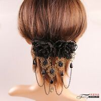 Medieval Vintage Victorian Gothic Handmade Black Tassel Lace Flower Hair Clip