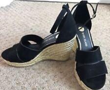 BN River Island Black Strappy 2 part Gold Espadrille Sandals size U.K. 8. 41
