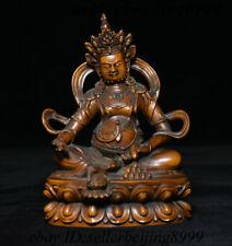 001 Old China Boxwood Wood Carving Yellow Jambhala Wealth God Buddha Statue