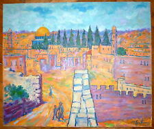 Nathan Gutman Huile sur toile signée Paysage Oriental Jerusalem Judaica Art