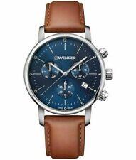 Wenger Herren Urban Classic Chronograph Swiss Analog Quarz Edelstahl braun blau