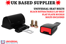 Universal Retractable Lap belt 2 point & 15cm Flat Plate Buckle E4 UK VAT INC