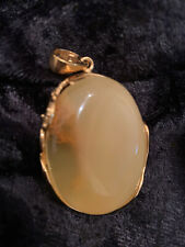 Gold over Sterling Silver Pendant Rare Large Egg Yolk Amber