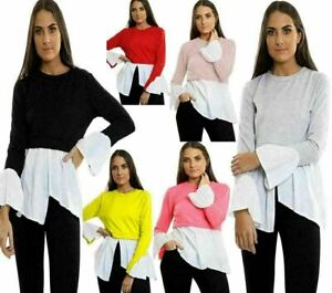 New Ladies Contrast Hi Low Jumper Women's Scoop Neck Bell Sleeve Slit Blouse Top