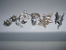 4x Lot Vintage Sterling Silver Feminine Screw On Earrings + Fairy Ear Cuff~20G