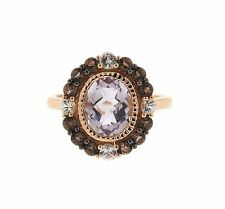 LeVian 14k Rose Gold Amethyst Sapphire Smokey Quartz Ring Sz 7.25 Retail $1875