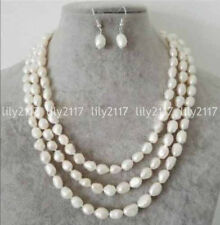 Natural 7-8mm White Baroque Freshwater Pearl Necklace Earrings Set 16-120'' AAA