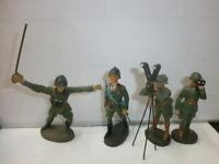 Konvolut 4 alte Hausser Elastolin Massesoldaten Italiener Offiziere zu 7.5cm