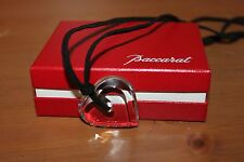 BACCARAT A LA FOLIE Crystal HEART Pendant Necklace with Black Cord Signed