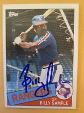 New listing Autographed 1985 Topps Baseball Card Billy Sample Texas Rangers