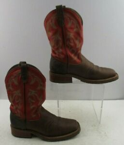 Men's Double H Pink / Brown Leather Western Cowboy Boots Size : 9 B