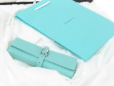 NEW TIFFANY & CO BLUE LEATHER JEWELRY ROLL HOLDER 4 NECKLACE BRACELET EARRINGS