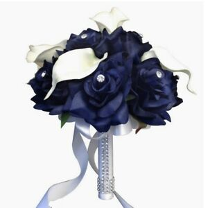 2pc set:bouquet&boutonniere-Navy blue,White-wedding,Toss flower girl bouquet