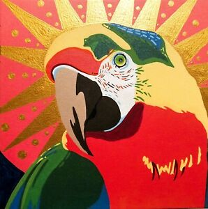 """""""Parrot Messiah"""" ORIGINAL ART, Painting On Stretched Canvas 12x12"""" by Tom Ford"""