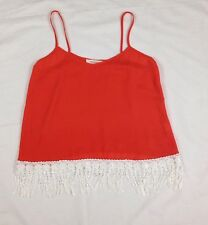Fascination Women's Top Spaghetti Straps Orange White Fringe Size Small