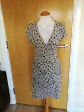 Ladies WAREHOUSE Dress Size 14 Stone Stretch Jersey Faux Wrap Bow Print