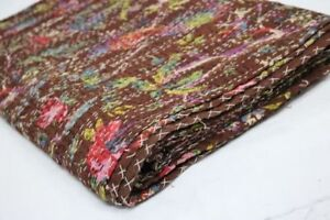 Indian Twin Kantha Quilt Bird Print Bed Cover Bedspread Blanket Barmier Brown