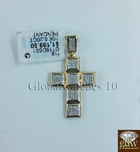 "10k Yellow Gold Jesus Cross 1.4"" Inch Charm/Pendant with Real Diamond, Angel."