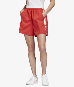 WOMENS ADIDAS SHORTS IN RED WITH 3 WHITE  STRIPES (FM2597) SIZE UK 18