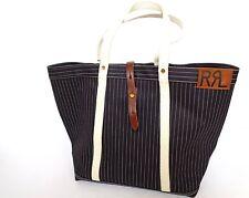 New Ralph Lauren RRL Denim Blue Pinstripe Canvas Large Oversize Tote Bag