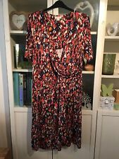 F72 Monsoon Plus Sz 20 Mixed Colour Soft Jersey Stretch Faux Wrap Dress