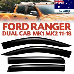 Car Weather Shield Weathershields Window Visor for Ford Ranger Dual Cab 2012-18