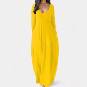 Womens Plain Kaftan Long Dress Ladies Holiday Beach V Neck Maxi Dress Plus Size#