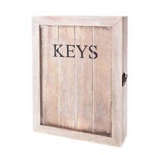 Gisela Graham Shabby Chic Rustic Keys Cupboard Hook Holder Wooden Cabinet wall