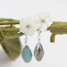 Pendiente`Orejas Pendientes Flor Nácar Natural Blanco Gota Azul Clase Retro