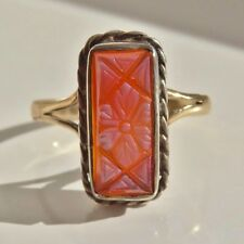 Antique Victorian Gold Silver Carnelian Intaglio Ring with Floral Motif c1865