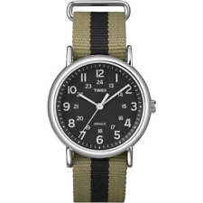 Timex Watch T2P236 weekender in fabric green and black men's fashion indiglo