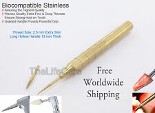 Dental Apex Handpiece Anchor & Root Extraction Screw Long Handle 3mm Gold Coated