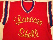 Vintage 70's Authentic Baseball  Jersey Sports Lancer Shell V-Neck T Shirt M
