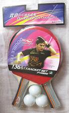 A pair(2 quality Shakehand Ping Pong paddle table tennis racket bat w. ball USA