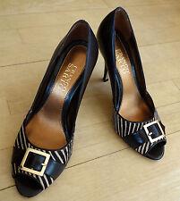 Franco Sarto Brown Beige Peeptoe Gold Buckle Leather Pumps Shoes Heels   size 7