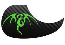 Tribal Dragon Acoustic Guitar Black Carbon Pickguard Scratchplate, Bright Green