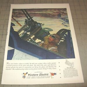 """VTG WESTERN ELECTRIC WWII FIGHTER PILOT Paul Rabut 11"""" x 17"""" Magazine 1-Page Ad"""