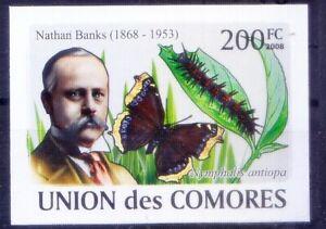 Comoros 2008 MNH Imperf, Butterflies Nathan Banks, American Entomologist