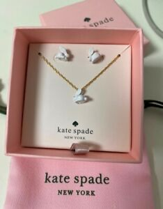 Kate Spade Forest Party Bunny white Rabbit Earrings&Necklace set