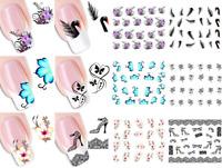 50Sheet Ongles Autocollant Stickers Décal Papillon Fleur Décor Nail Art Manucure