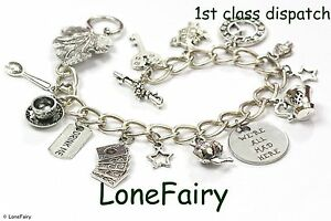 Alice In Wonderland 'We Are All Mad Here' Silver Plated Charm Bracelet Tea Party