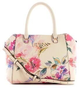 NEW GUESS Women's Light Pink Floral Print Satchel Handbag Purse Crossbody