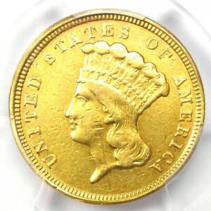 1854 Three Dollar Indian Gold Coin $3 - Certified PCGS AU Details - Rare Coin!