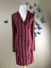 NORMA KAMALI NWT $175 Stretch Printed Long Sleee Ruched Faux Wrap Dress Sz XL