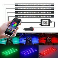4Pcs 12V LED 5050 Bluetooth Control RGB Strip Interior Lights USB Power For Car